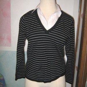 Black White Stripe V Neck Collared Knit Sweater XL